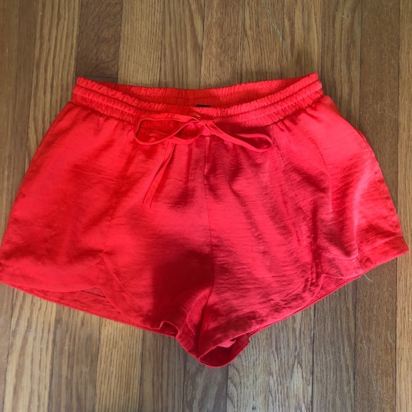 Forever 21 Pants - Women's Red Forever 21 Silky Shorts